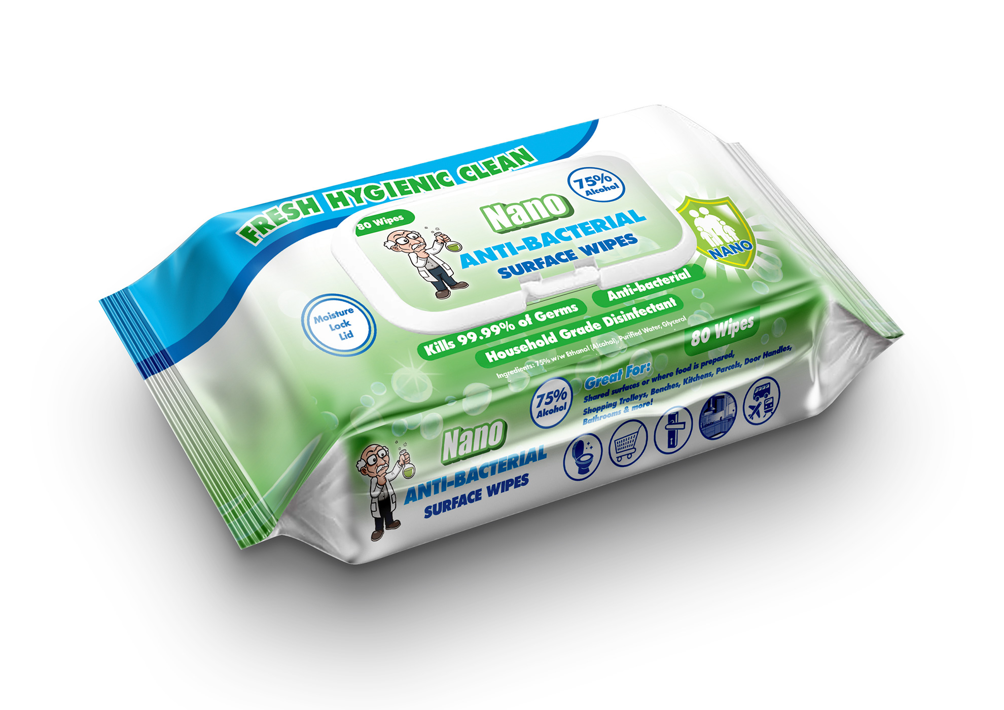 Nano wipes pouch - 80 pack