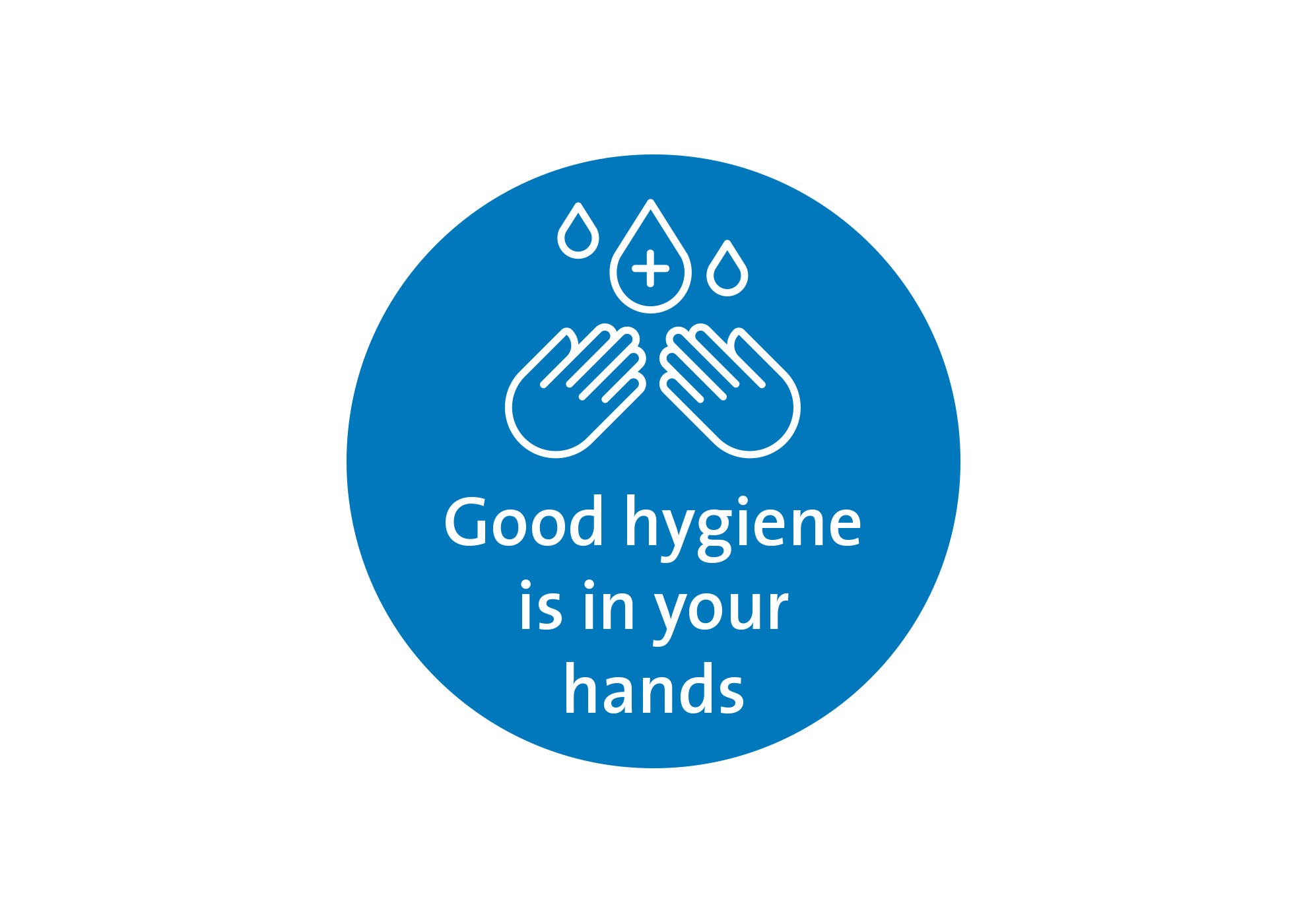 Good hand hygiene round floor decal