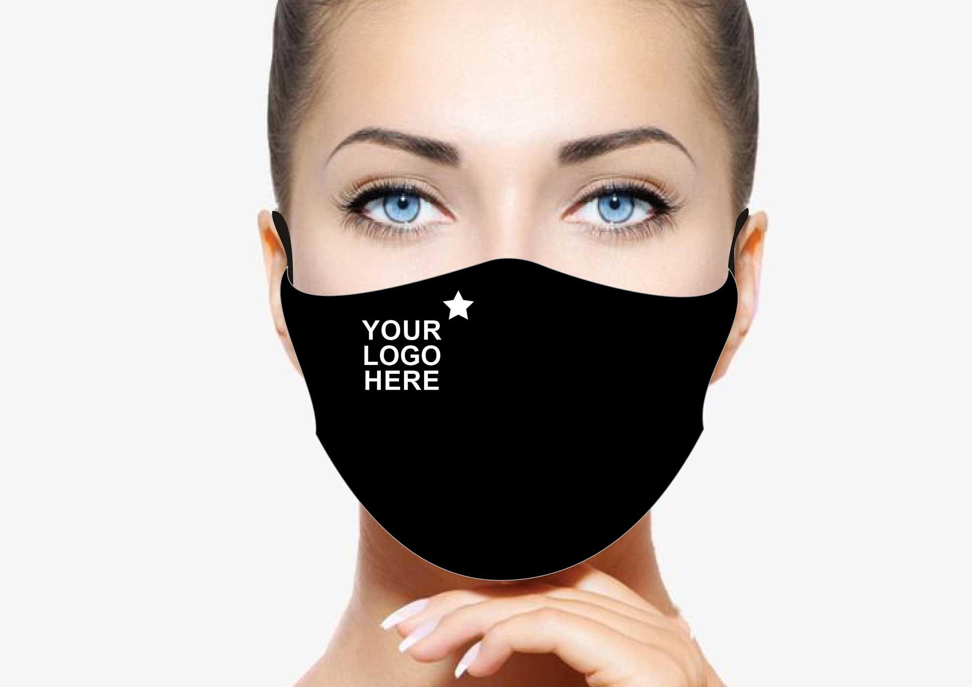Branded face mask black