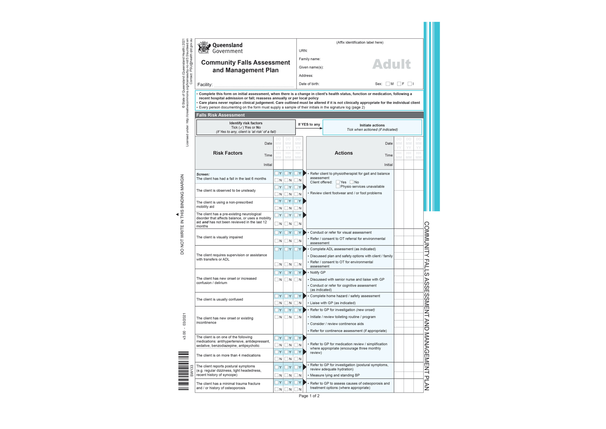 Clinical Forms - Community Falls Assessment and Management Plan